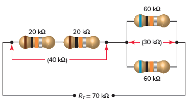 Series-parallel connection of resistors.