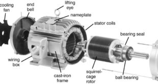 Exploded view of a three-phase induction motor