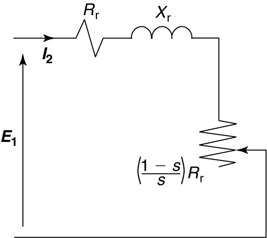 Rotor circuit referred to stator, with rotor resistance split into two components