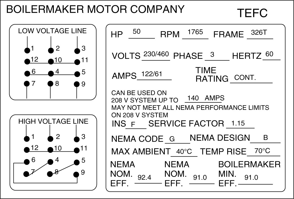 electric motor nameplate