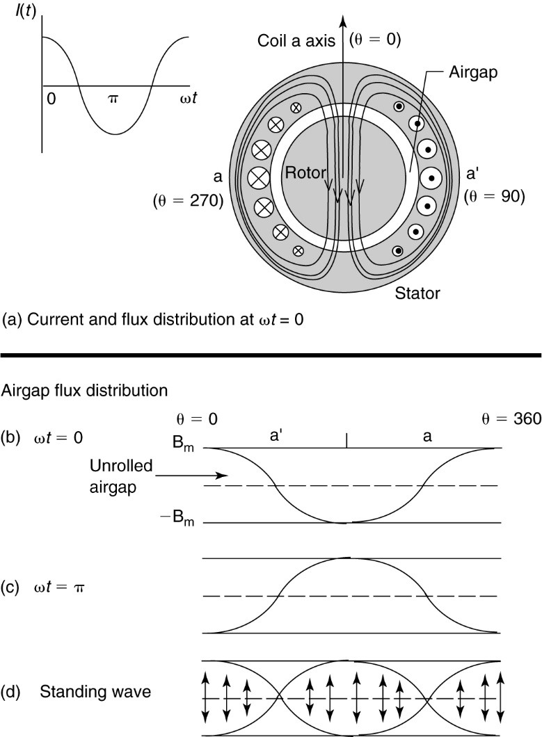 Flux distribution in the airgap due to a single-phase coil.