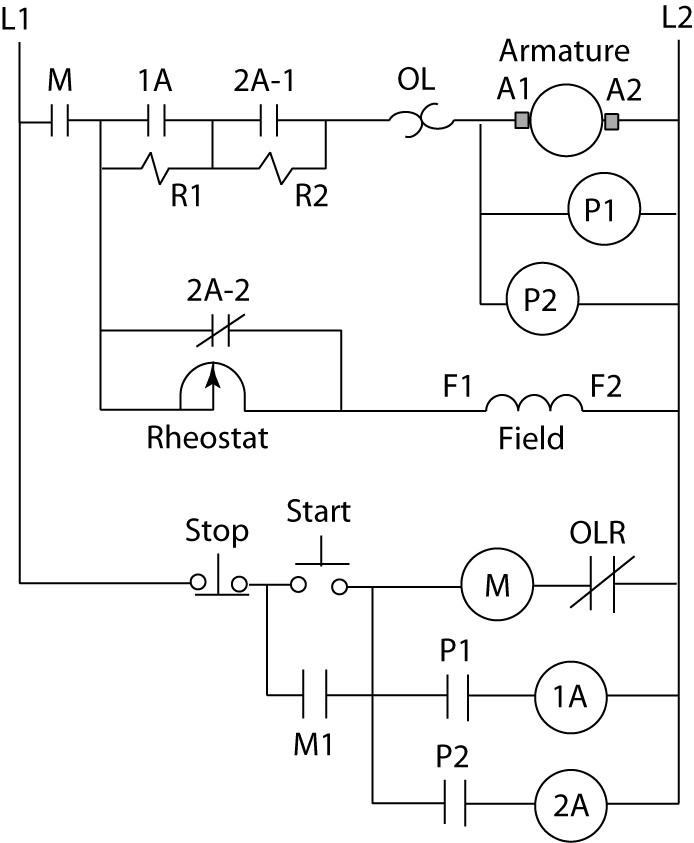 Counter EMF DC motor starter circuit diagram