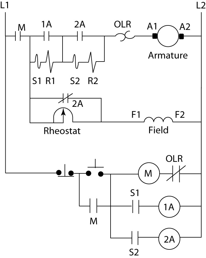 Current-limit DC motor starter circuit diagram
