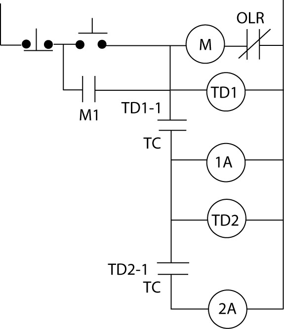 Definite-time DC motor starter circuit diagram