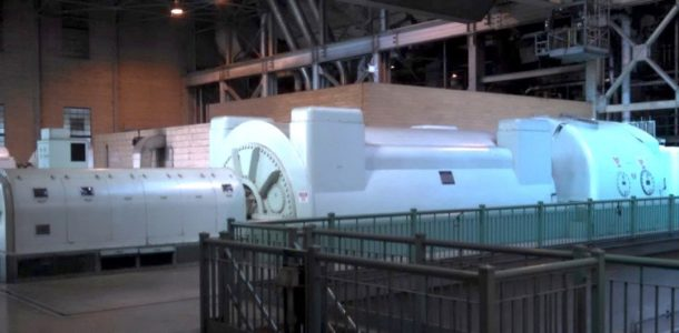 Steam turbines drive large 3-phase AC generators