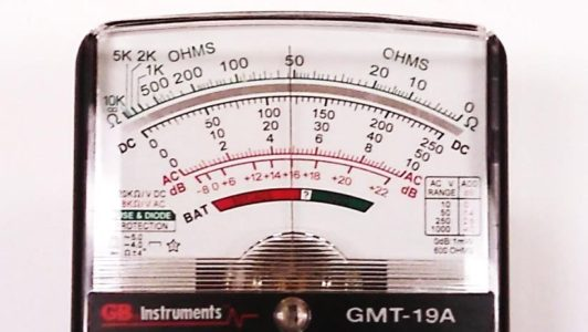 Taking a reading with an analog multimeter