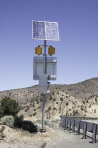A remote traffic sign with warning lights is an ideal application for a stand-alone solar power system.