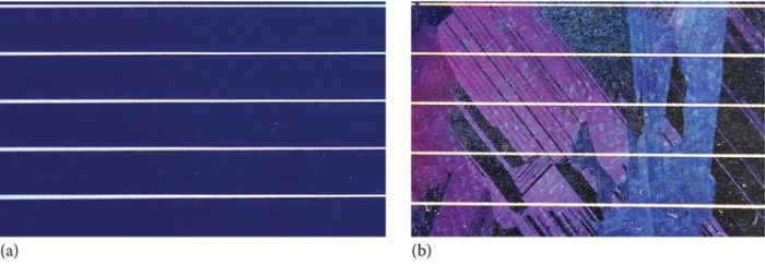 A PV cell with (a) a mono-crystalline (m-c) and (b) poly-crystalline (p-c) structure