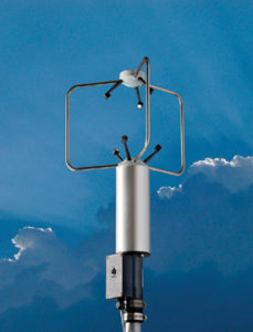 An ultrasonic wind measurement instrument measures wind speed, wind direction, and air temperature.