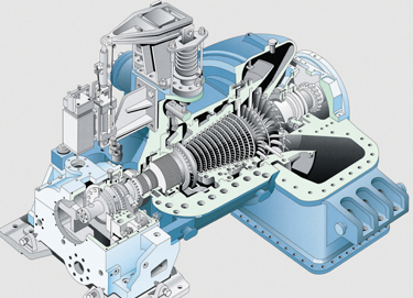 Cutaway View of a Steam Turbine