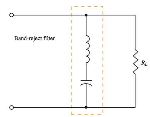 series tuned circuit arranged as a band- reject filter