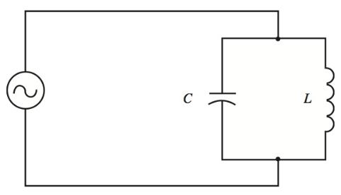 parallel LC circuit connected to a variable frequency generator