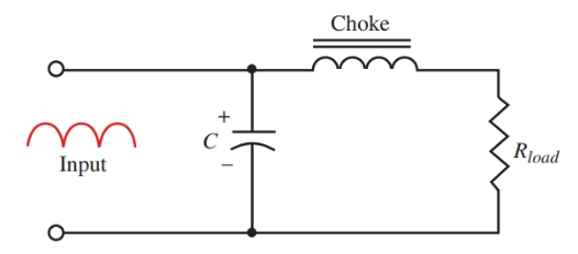 Further filtering is produced by the choke in series with the load.