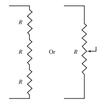 Voltage divider across power supply output.