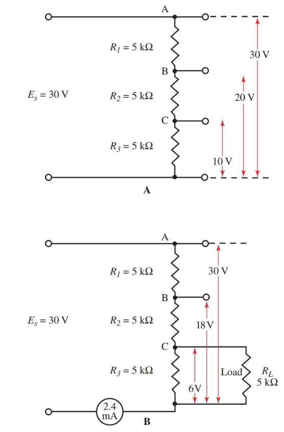 Diagrams show a change in resistance in a voltage divider when a load is attached
