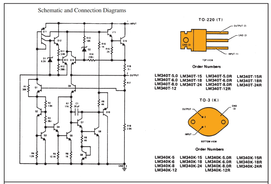 Schematic and connection diagrams for voltage regulators.  a