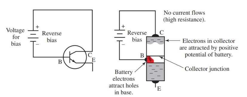 Reverse bias for collector junction in an NPN transistor