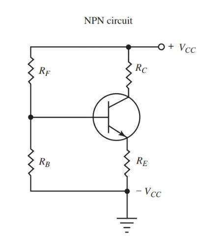 Schematic of single battery bias. for npn transistor amplifier