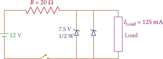 Zener diodes in parallel.