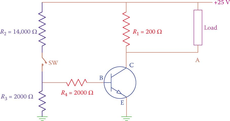 Providing base voltage by a voltage divider.