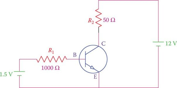 Connecting a transistor to electric supply.