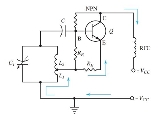 A Hartley oscillator circuit diagram.