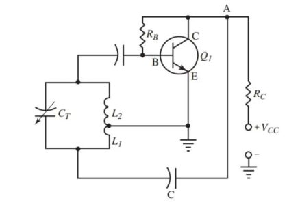 A shunt fed Hartley oscillator circuit diagram.