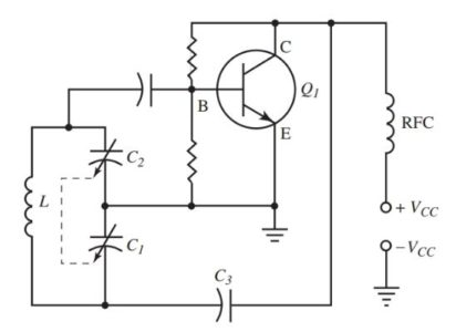 Circuit diagram of a Colpitts oscillator.