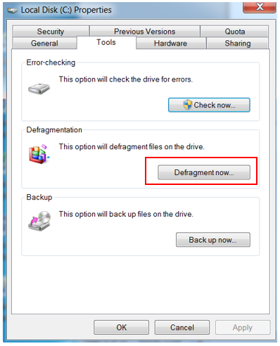 how to defragment a drive from Properties of the drive