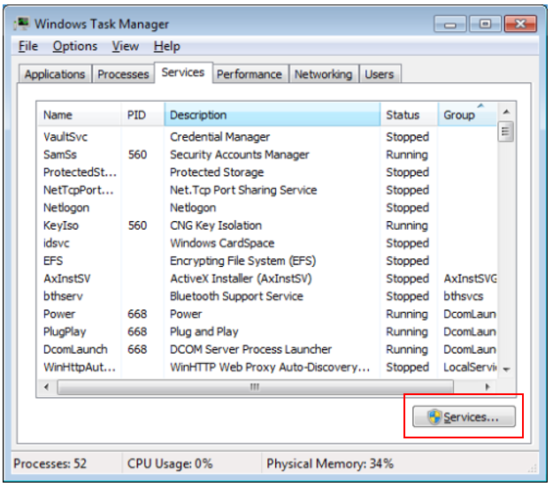 Services Tab of the Task Manager