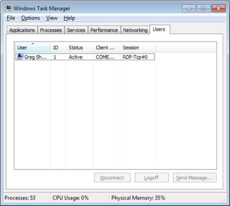 Users Tab in Task Manager