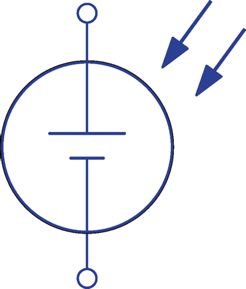 Symbol for a photovoltaic cell.