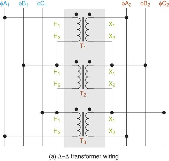 ∆-∆ transformer Wiring diagrams.