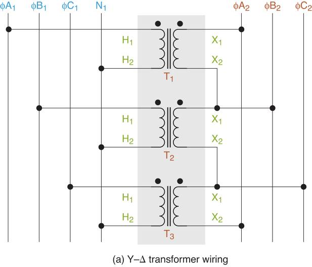 Y-∆ transformer Wiring diagrams.