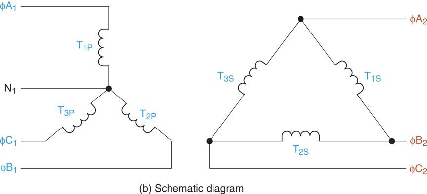 Y-∆ transformer Schematic diagrams.