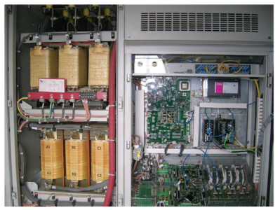 Part of the control circuitry for a wind turbine.