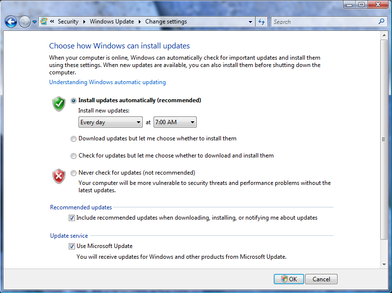 Screen showing options available for Windows Updates