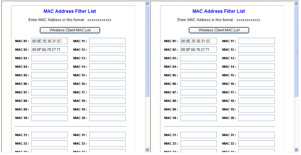 MAC filtering on a wireless router