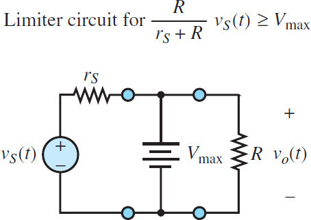 Equivalent circuit for the one-sided limiter (diode on)