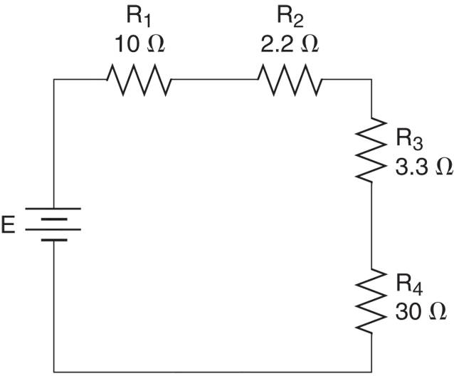 A four-resistor series circuit.