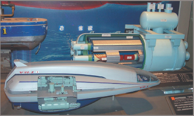 Magneto hydrodynamic drive at the Tokyo Maritime Museum of MHD