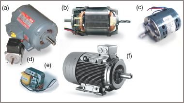 Electric Motor Frame types Diagrams: (a) drip-proof, (b) open frame, (c) IP10 frame, (d) small enclosed, (e) open frame shaded pole, (f) totally enclosed fan cooled