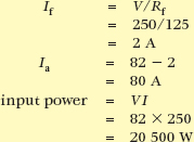 dc motor input power calculation