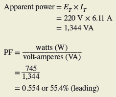 power factor calculation in rc series circuit
