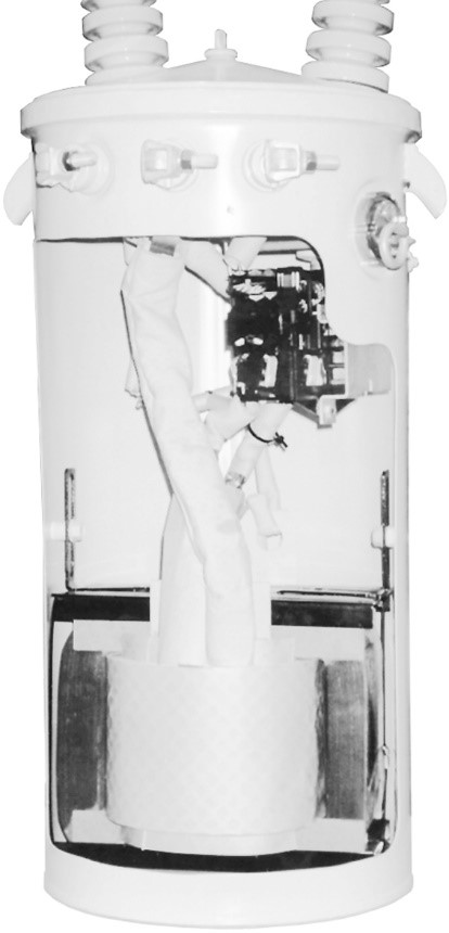 Cutaway view of a pole-mounted transformer.