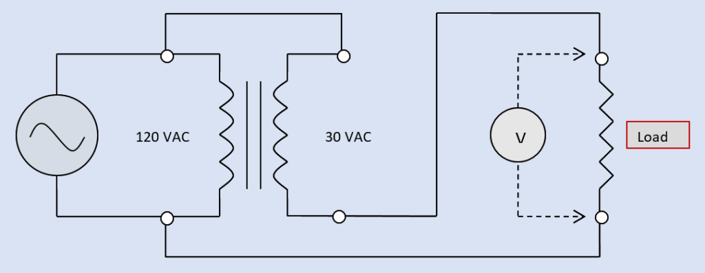 Diagram of a single-phase AC transformer connected as an autotransformer for either buck or boost configuration