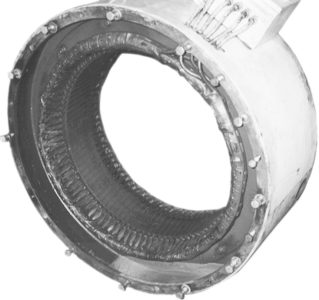 Stator (armature) winding of a synchronous machine.