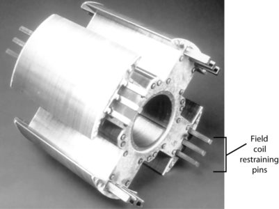 Four-pole, salient-pole synchronous motor rotor without field windings