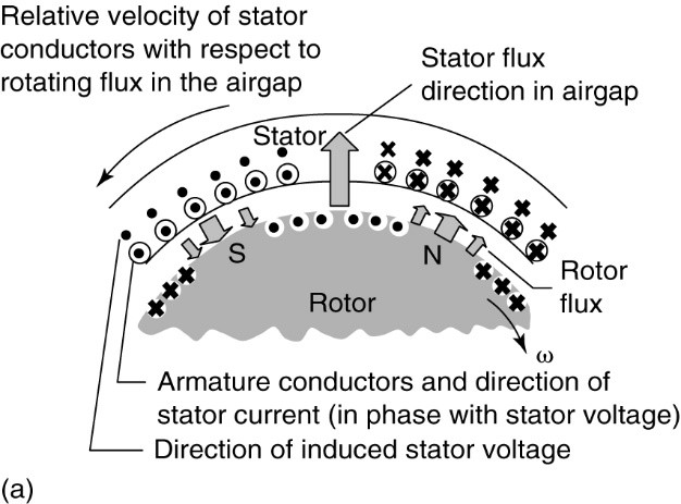 illustration of the rotor flux and armature reaction flux in a synchronous generator 1