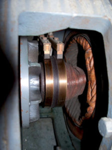 SLIP RINGS AND CARBON BRUSHES of synchronous generator